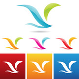 glossy abstract bird icons