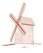 Old rural windmill - vector illustration.