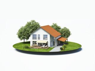 Einfamilienhaus  weiss auf Insel