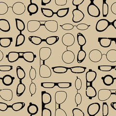 Seamless pattern glasses on retro background