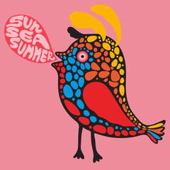 Сolorful bird with sun sea summer banner.