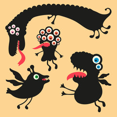 Happy monsters vector images. Set 1