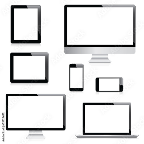Modern computer, laptop, tablet and smartphone vectors