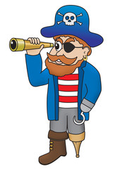 Cartoon illustration of pirate looking through a spyglass