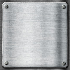 Metal texture template background. Steel plate with hexagon scre