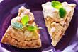 apple pie with mint garnish close-up