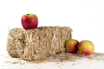 Apples on a bale of hay