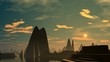 Rising (UFO) over the city of aliens