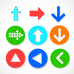 Colorful arrow sign icon set. Contemporary modern style.
