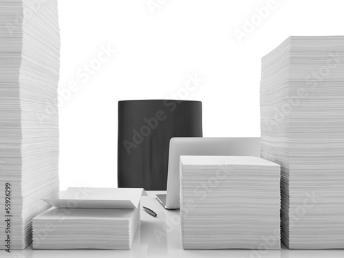 Office table with documents