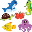 Set of cartoon sea animals. Vector illustration for coloring