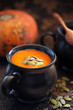 Pumpkin soup with seeds, selective focus