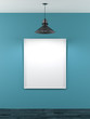 blank frame in blue room with ceiling lamp