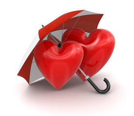 Heart with Umbrella (clipping path included)