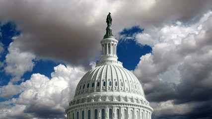 US Capitol Dome with Time Lapse Storm Clouds