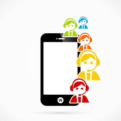 Support mobile phone applications vector illustration