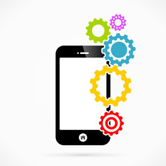 Settings mobile phone applications vector illustration