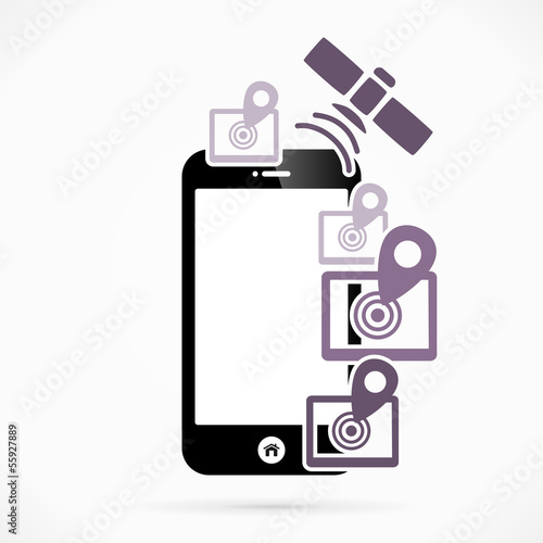 GPS mobile phone applications vector illustration