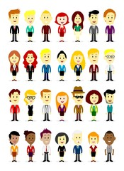 Cute Business man & woman characters wearing colorful suit