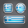 Greece flag glass buttons