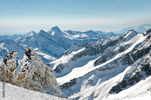 Scenic winter wallpaper from high mountain in Austrian Alps