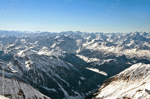 Scenic wallpaper with highest peaks of the european alps