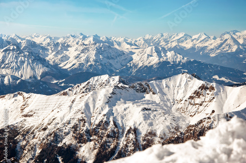 Sunny day in the European Alps on a winter wallpaper