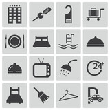 Vector black  hotel icons set