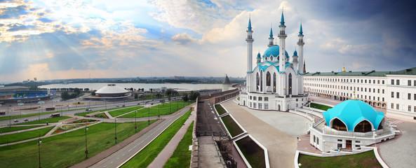 panorama with kul sharif mosque in kazan kremlin