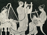 Greek womens, playing harp, cithara and lyre