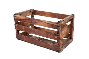 Vintage wooden crate isolated on white
