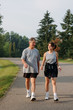 Father and daughter walking for exercise