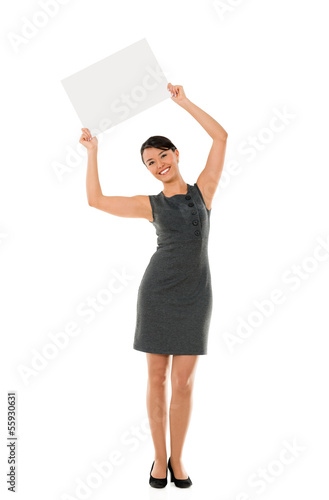 Business woman holding banner