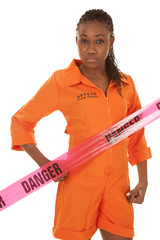 woman prisoner orange danger