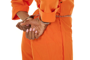 woman prisoner orange handcuffs close side