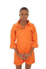 woman prisoner orange stand