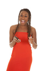 woman red dress phone laugh