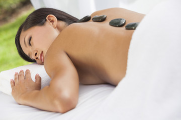 Asian Woman Health Spa Hot Stone Treatment Massage