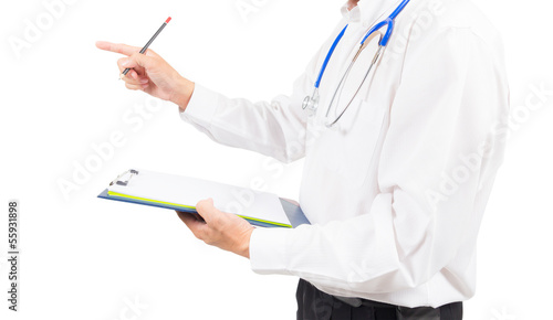 doctor talking to patient isolated with clipping path