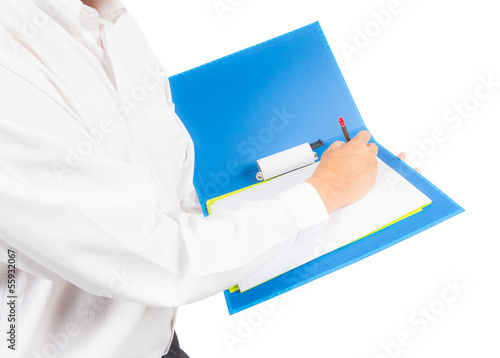 business man writing on notebook