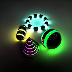 Oggetti design luminosi neon energia