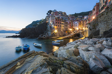 Riomaggiore Italy at dusk