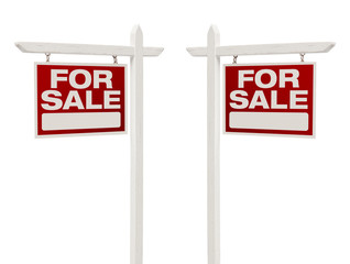 Pair of For Sale Real Estate Signs With Clipping Path