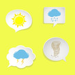 White paper speech bubbles with weather symbols