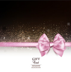 Elegant holiday background with pink bow and copy space. Vector