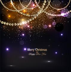 Elegant christmas background with golden garland. Vector illustr