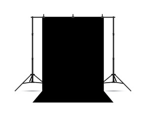 Black photo background isolated on white. Vector EPS10.