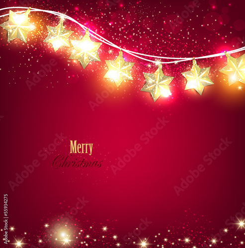 Red Christmas  background with luminous garland. Vector illustra