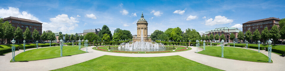 Mannheim Rosengarten und Wasserturm Panorama