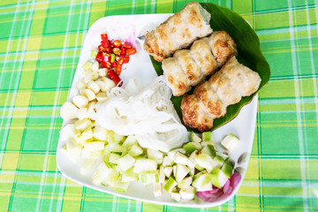 vietnamese cuisine pork on rice Paper and vegetable  Nam Neung